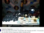 BOPE seized an AK47, 5 grenades, 647 AK47 rounds, 133 rounds of .40 ammunition and $R31,920 (about US$20,000)