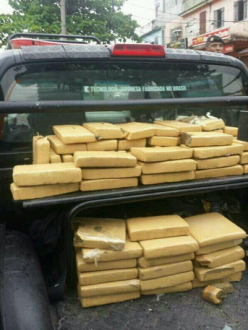 400 pounds of weed, five pounds of base paste and 3,358 bags of cocaine.