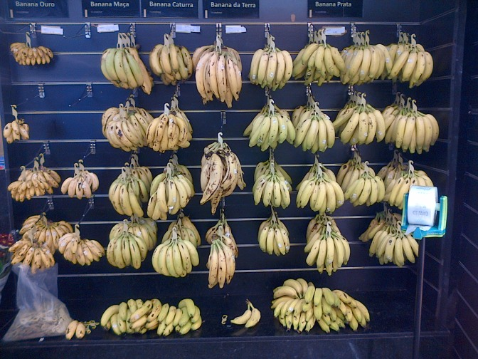 Five different types of bananas in a Brazilian supermarket, and not one Cavendish