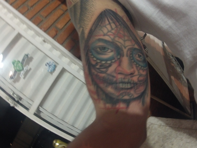 "Mexican ""Candy-skull"" tattoo, on the arm of a Brazilian youth –  Lagoa Santa."