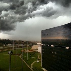 Storm over Belo Horizonte's Cidade Administrativa, designed by legendary architect Oscar Niemeyer