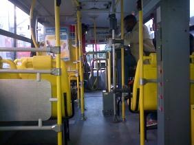 Brazilian bus conductors take cash and let passengers through the turnstile