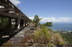 An old abandoned hotel in the mountains of Rio de Janeiro, with incredible views of the ocean and from its crumbling roof, Brazil