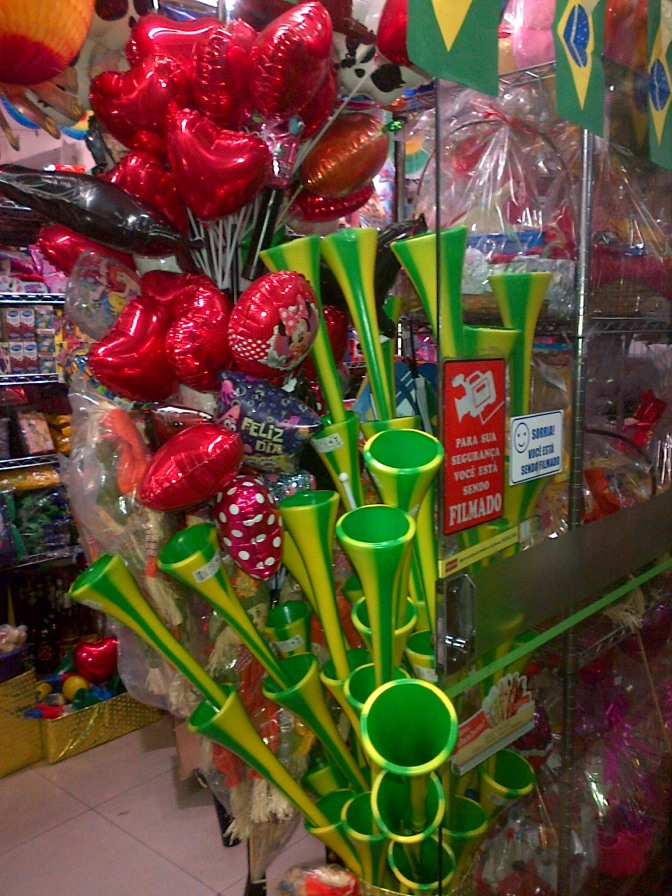 Will the Vuvuzela make an unwelcome return at the 2014 World Cup in Brazil? Spotted for sale today in Belo Horizonte…