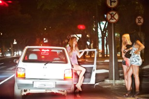 Brazilian prostitutes waiting for customers on Avenida Alfonso Pena, Belo Horizonte, Brazil.