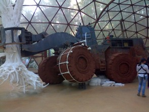 Brazilian tree-hugger truck tipping over inside a glass dome at Inhotim, Minas Gerais