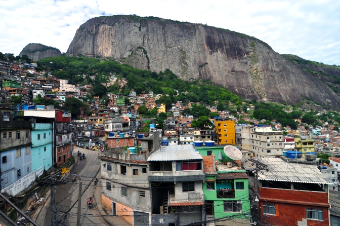 "Cliff-top view of South America's largest favela Rocinha from ""Dois Irmaos"" in Rio de Janeiro"